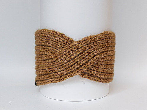Camel Brown Color. Knitted Headband with Twist Front View.