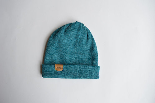 (Reversible) Hat 100% Alpaca Wool Ocean Blue