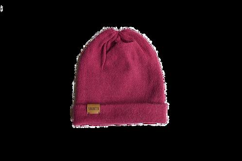 Knitted Hat 100% Alpaca Wool Funky Fuchsia