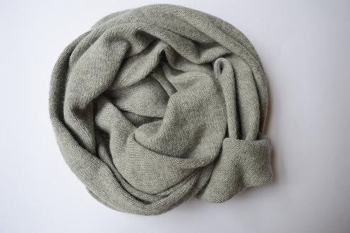 Large Scarf 100% Alpaca Wool Silvery Grey