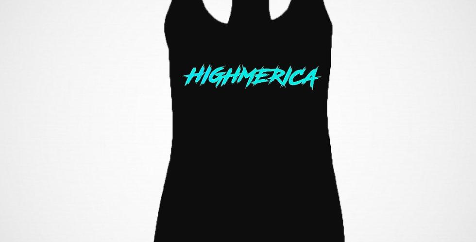 LADIES BLACK HIGHMERICA RACERBACK TANK