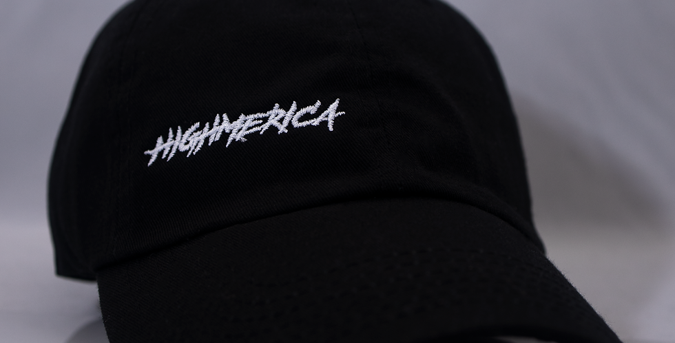 BLACK WHITE HIGHMERICA HAT WITH GOLD DRIP PIN