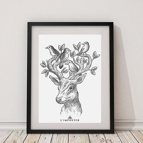 Affiche cerf avec oiseau