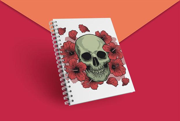 Cahier à spirale skull et fleurs tete de mort