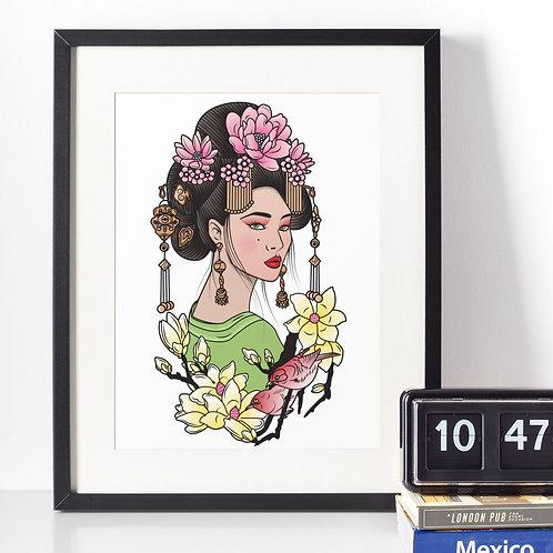 Affiche Dessin Femme et fleurs
