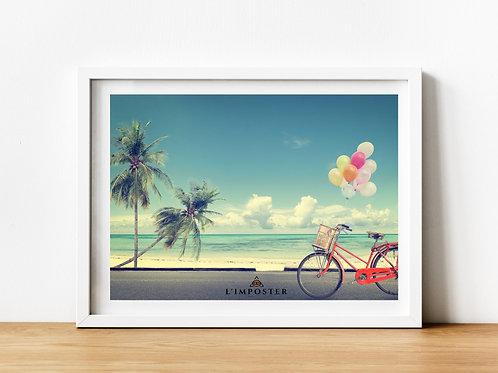 Affiche plage palmier vélo