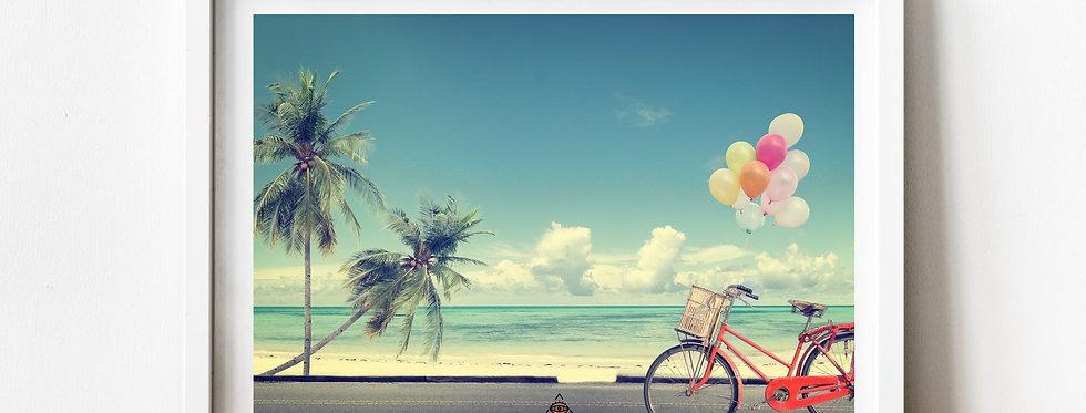 Affiche plage palmier vélo 159
