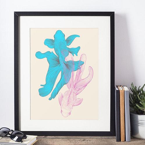 Affiche poisson et fleur