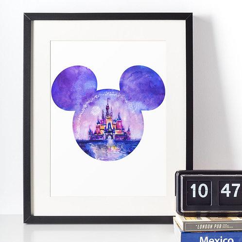 Affiche tête Mickey reflet château Disney
