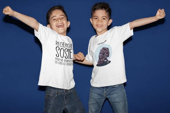 T-shirt enfant a message drole et dessin