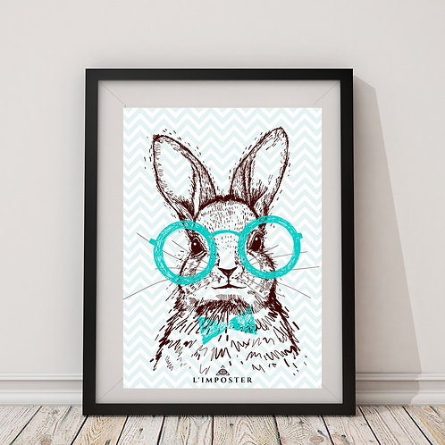Affiche lapin à lunette bleu
