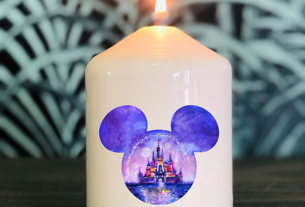 Bougie tête Mickey refleBougie tête Mickey reflet Château t Château