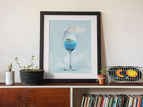 Affiche illustration verre fumant