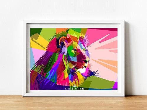 Affiche Lion multicolors origami