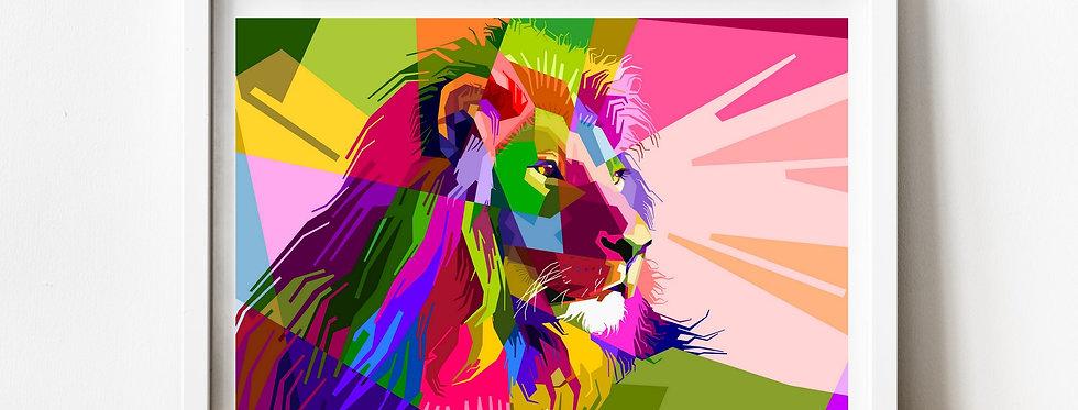 Affiche Lion multicolors origami 81
