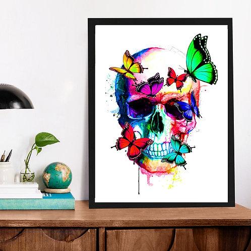 Affiche tête de mort et papillon watercolor