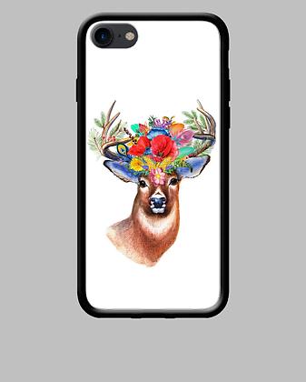Coque mobile iPhone cerf fleurs 230