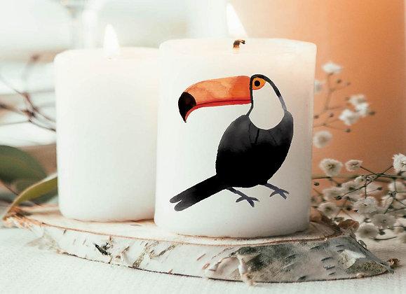 Bougie Imprimée toucan watercolor