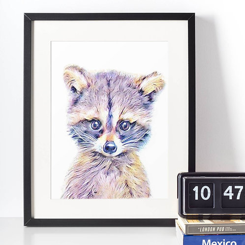 Affiche Racoon watercolor