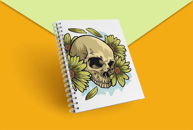 Cahier à spirale tête de mort et fleurs