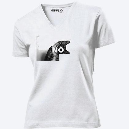 T-shirt Femme Col V Petit chat