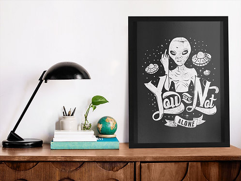 Affiche illustration ovni drôle