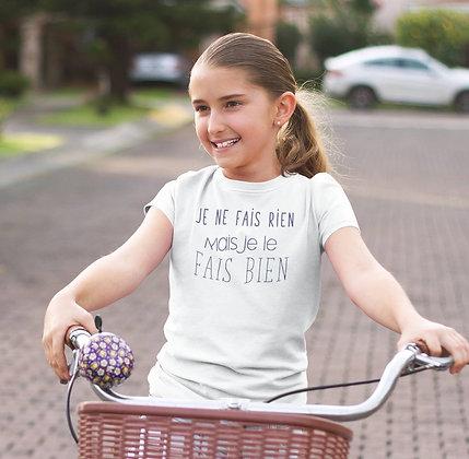 T-shirt Sweat Enfant Je ne fais rien mais je le fais bien