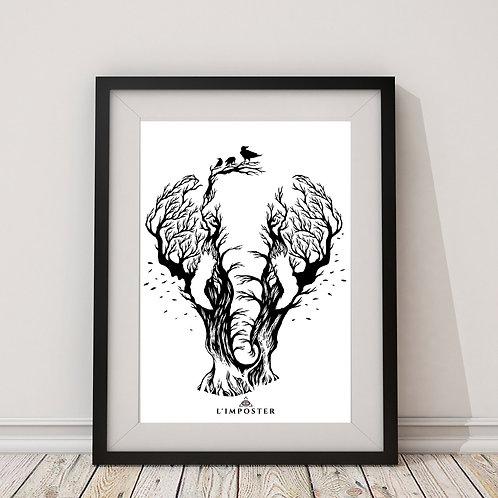 Affiche Éléphant arbre