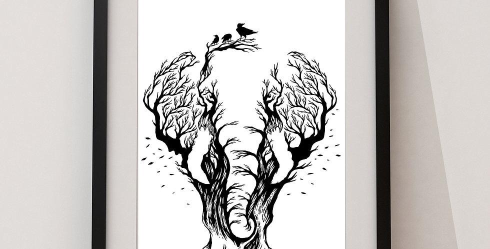 Affiche Éléphant arbre 99