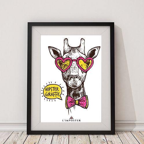 Affiche girafe cool avec lunette