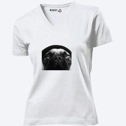 T-shirt Femme Col V Bouledogue Francais funny