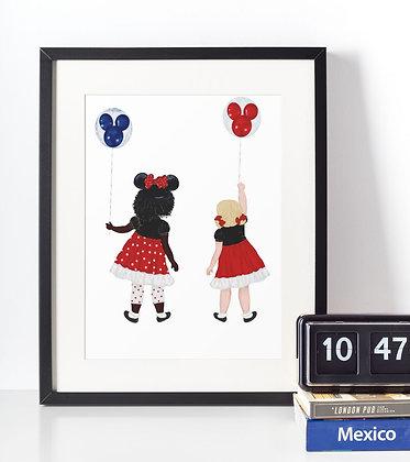 Affiche Filles avec ballons Mickey 436