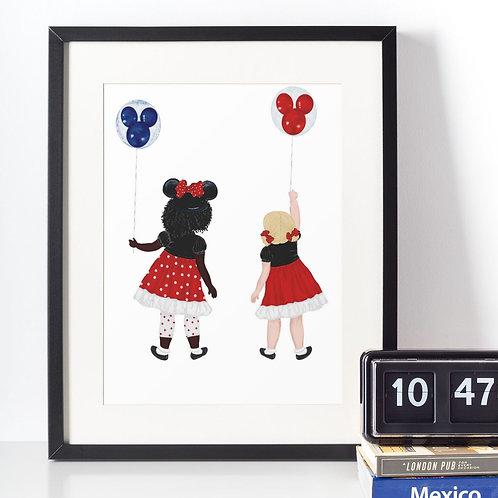 Affiche Filles avec ballons Mickey