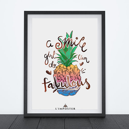 Affiche ananas citation smile girl