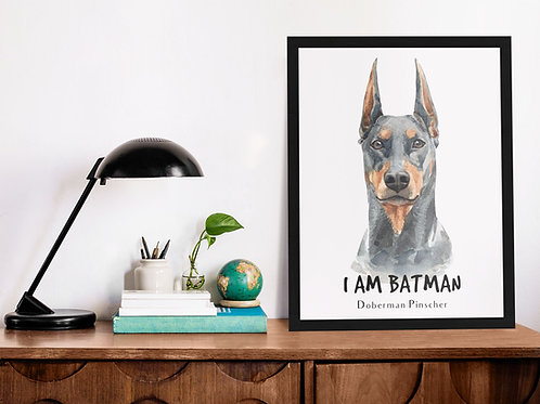 Affiche Illustration batman chien