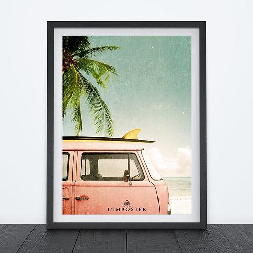 Affiche van plage palmier