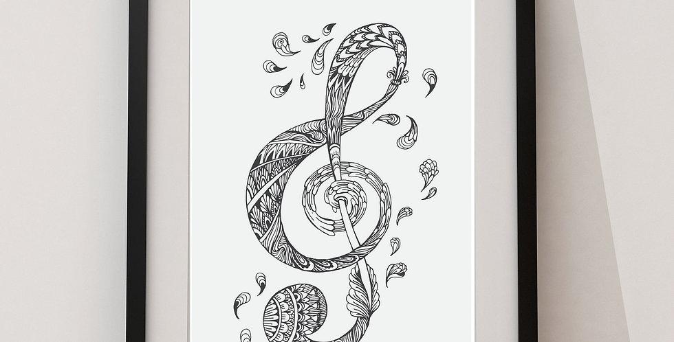 Affiche Note de musique mandala 105