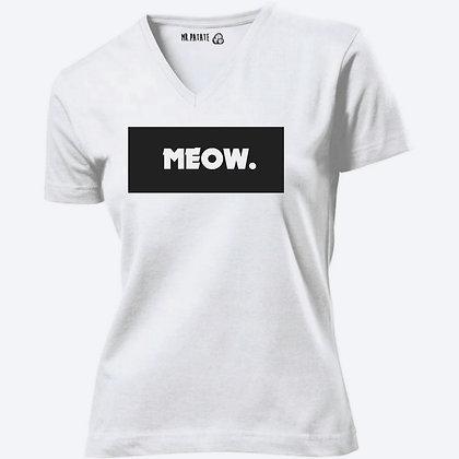 T-shirt Femme Col V Meow citation