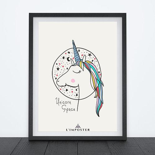 Affiche Licorne in space