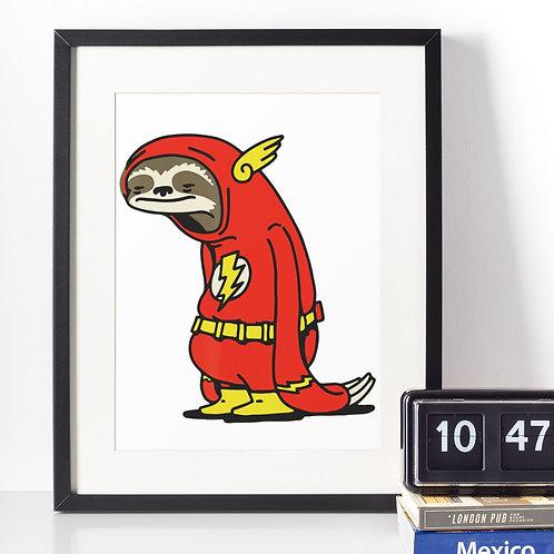 Affiche paresseux déguisé en flash