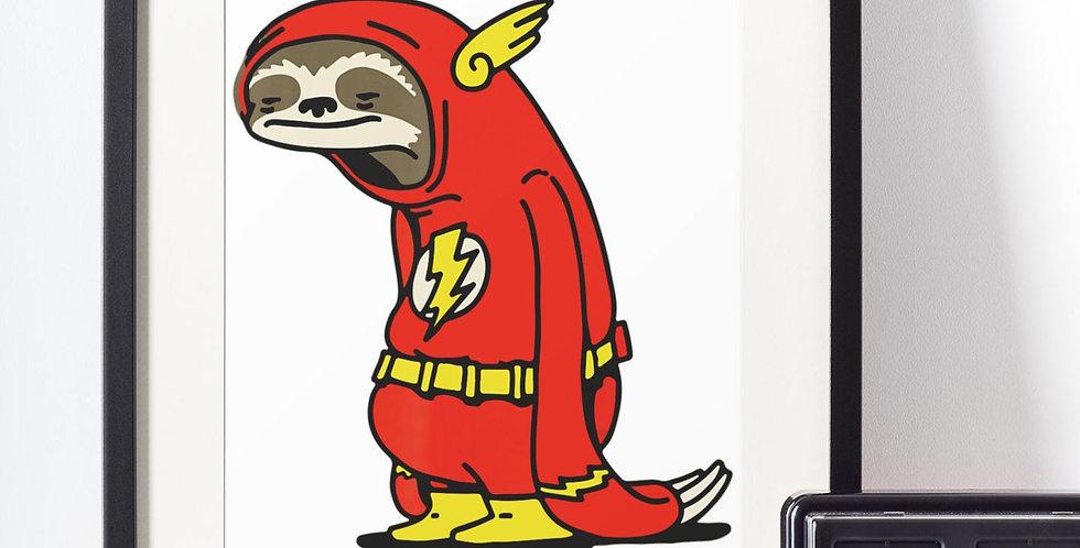 Affiche paresseux déguisé en flash 460