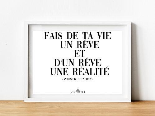 Affiche citation fais de ta vie un rêve