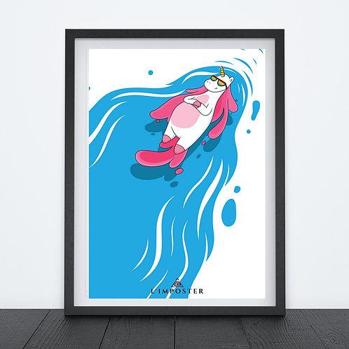 Affiche licorne posé dans la piscine