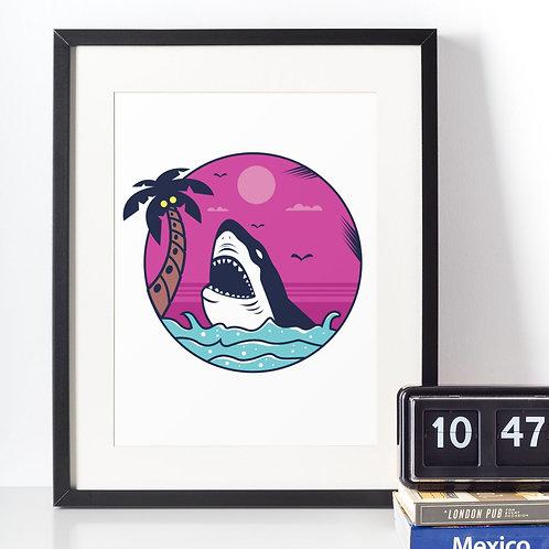 Affiche Dessin Requin et palmier