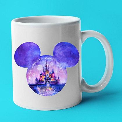 Tête Mickey reflet château Disney