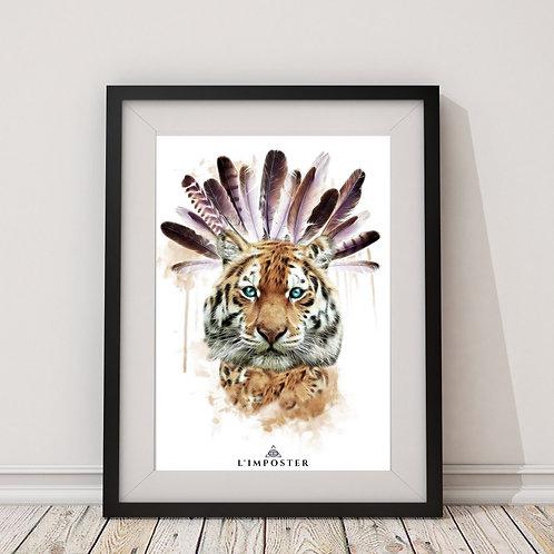 Affiche Tigre et plumes indien