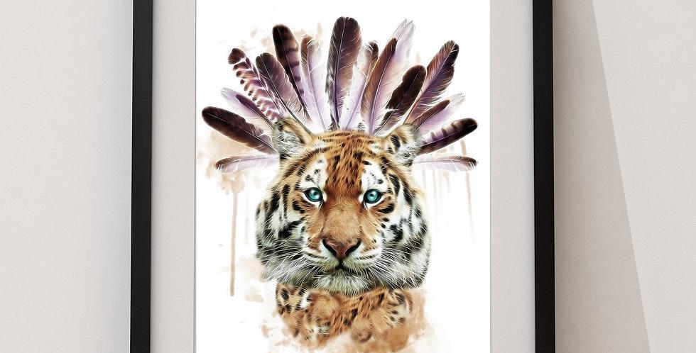 Affiche Tigre et plumes indien 89
