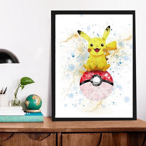 Affiche Pokéball Pikachu watercolor