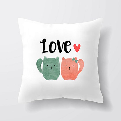 Housse de coussin Chat Love Illustration