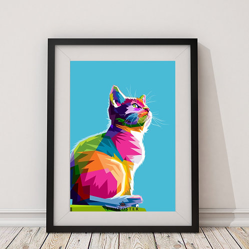 Affiche Chat multicolors origami